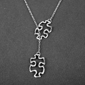 HEYu Creative Necklace Awareness Jigsaw Double Puzzle Pendant Necklace Gifts(China)