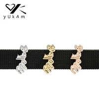 YUKAM Believe Word Slide Charms Keeper para envoltura de cuero Reversible malla Keeper pulseras brazaletes DIY joyería accesorios fabricación