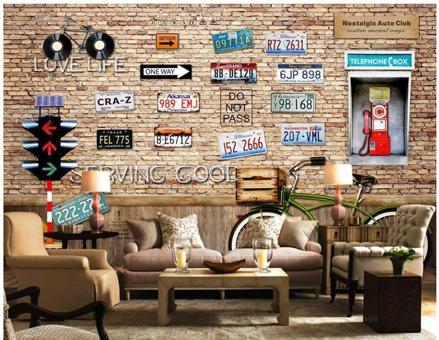 d coration murale vintage plaque d 39 immatriculation de v los 3d papier peint tv fond d 39 cran du. Black Bedroom Furniture Sets. Home Design Ideas