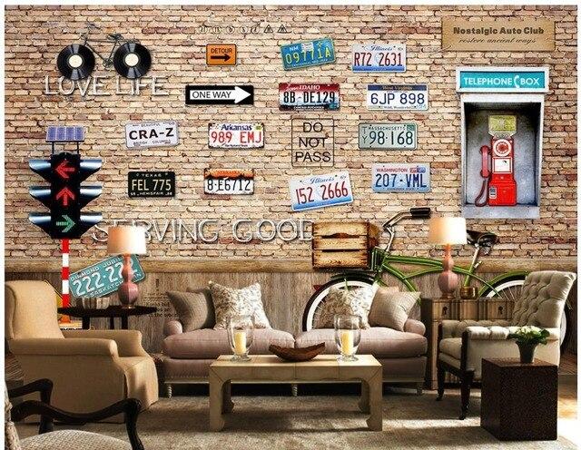 Woonkamer Vintage Bank : Wanddecoratie vintage fiets nummerplaat 3d behang tv achtergrond