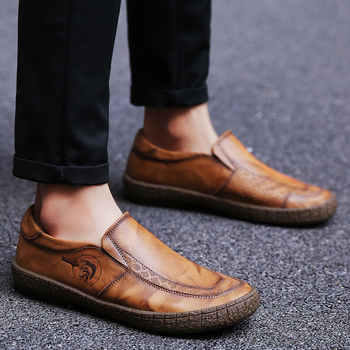 2018 New Brand Business Men's Genuine leather Shoes Trend Fashion Men's Shoes Single Shoes Fashion Paired Lazy Shoes Plus size