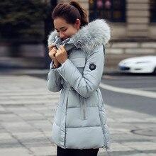 Новый пуховик женские Зимние воротник Надьмарош пальто зимнее большой размер длинные участки Тонкий тонкий хлопок с капюшоном толстый слой