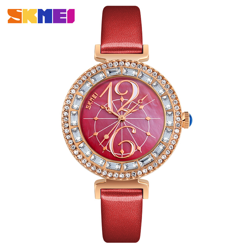 SKMEI Quartz 9158 Woman Watches Fashion Casual Ladies Leather Waterproof Watch Luxury Wristwatches For Women  Relogios Feminino|Women's Watches| |  - title=