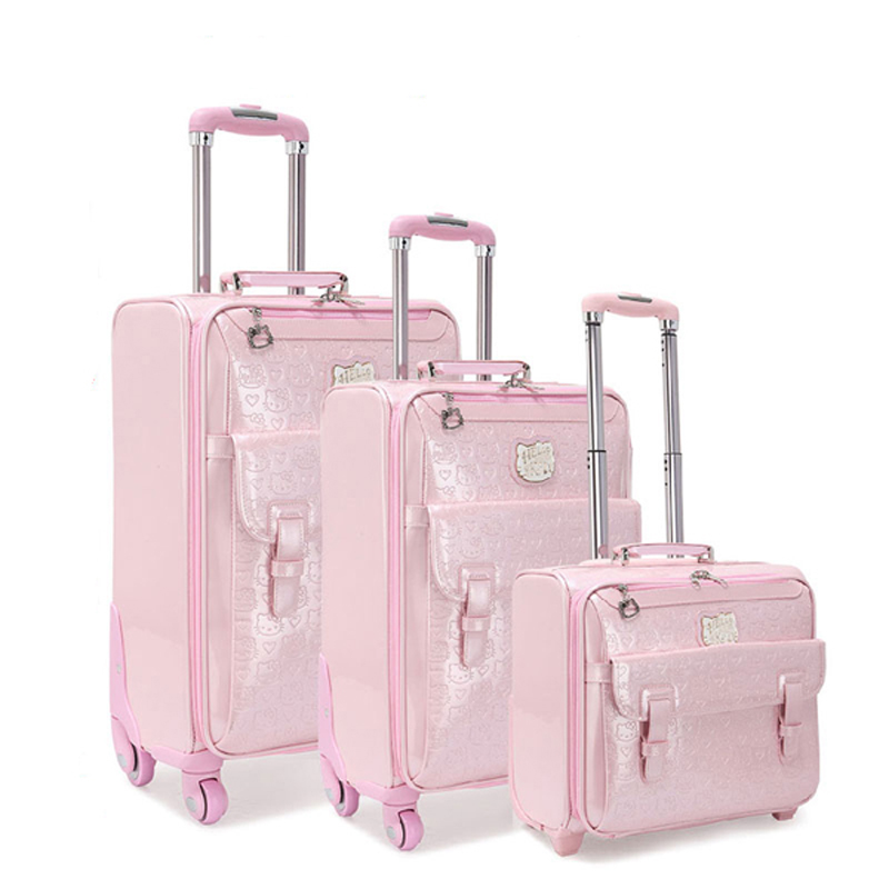 Mode bagage femme petit frais 16 20 valise roues universelles chariot bagages voyage 24 boîte souple, vintage Hello Kitty luggag