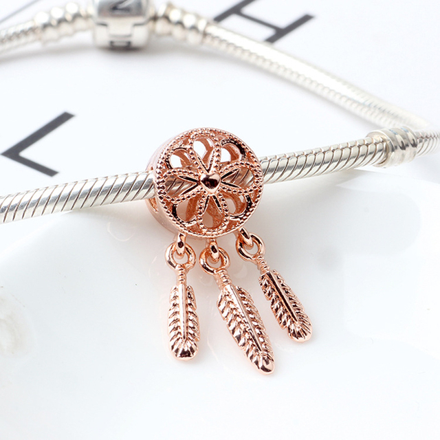 925 Sliver Bead Rose Gold Enamal Pendant Dangle Charm Fit Pandora Bracelet Necklace DIY 3
