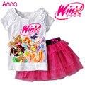 Conjunto de Roupas meninas camiseta + Saia 2 Pcs Ternos Dos Desenhos Animados Winx Club Crianças Definir roupas infantis Frete grátis