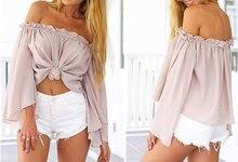 Sexy Long Sleeve Chiffon Blouse Shirt Elegant Women Tops Off Shoulder Crop Top Summer Beach Blouse Chemise Tube Blusas Blusa