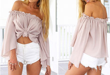 Sexy Long Sleeve Chiffon Blouse Shirt Elegant Women Tops Off Shoulder Crop Top Summer Beach Blouse Chemise Tube Blusas Blusa