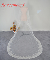 Voile Mariage 3 M Uno Strato di Pizzo Bordo Bianco Avorio Catherdal Velo da sposa Lungo Velo Da Sposa Accessori Da Sposa Economici Veu de Noiva