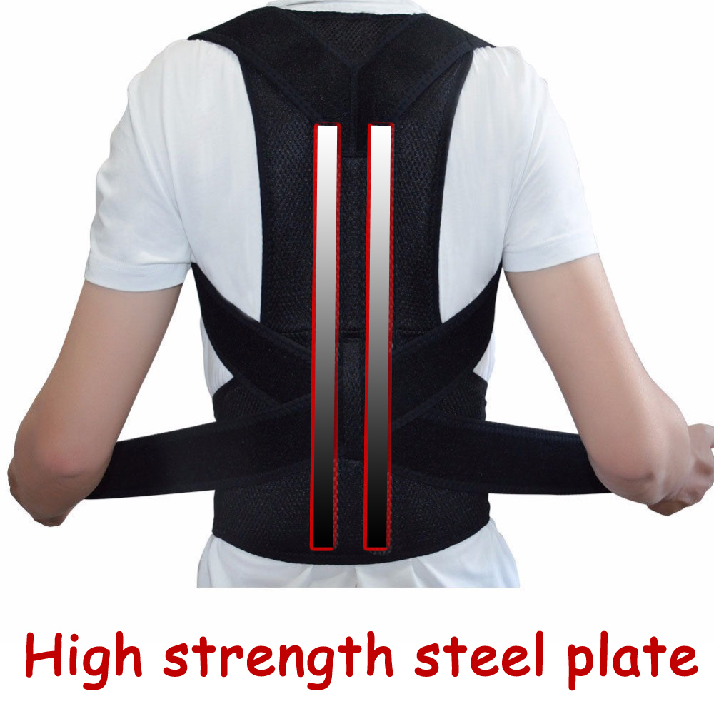 Adjustable Double Pull Orthopedic Therapy Posture Corrector Brace Shoulder Back Spine Steel Plate Support Pad Belt for Men Women aibikang steel posture corrector back brace and adjustable double pull shoulder back support belt xxl 52 black