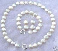 shipping Natural Pearl 11 12MM White Coin Pearl Necklace Bracelet Earring Jewelry Set (A0423)