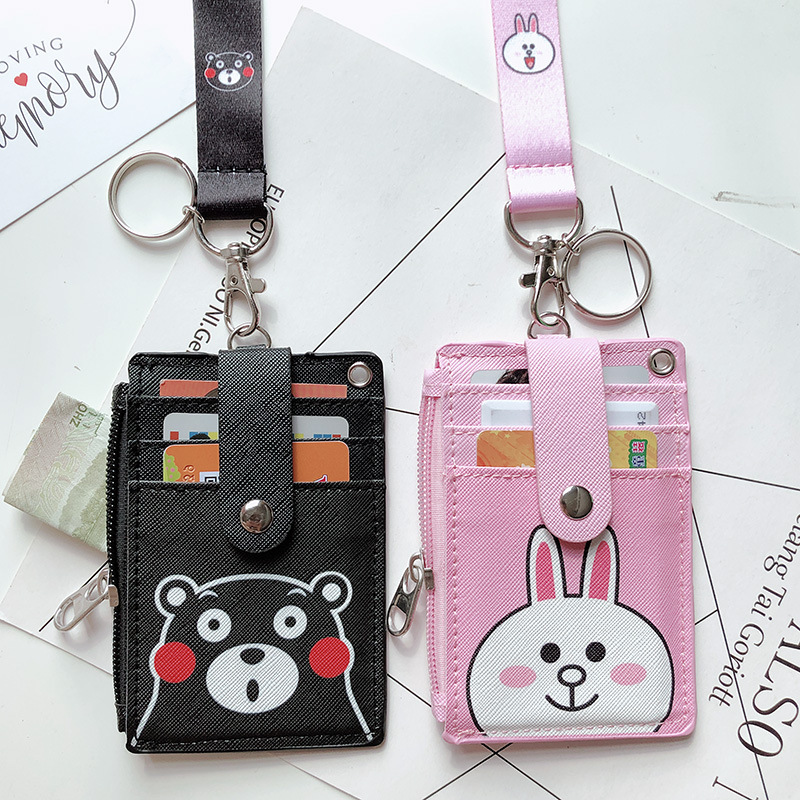 Cartoon ID Card Holder Wallet Halter Student Bus Card Cover Money Coin Purse Zipper Pouch Hanging Neck Multifunction Card Bag