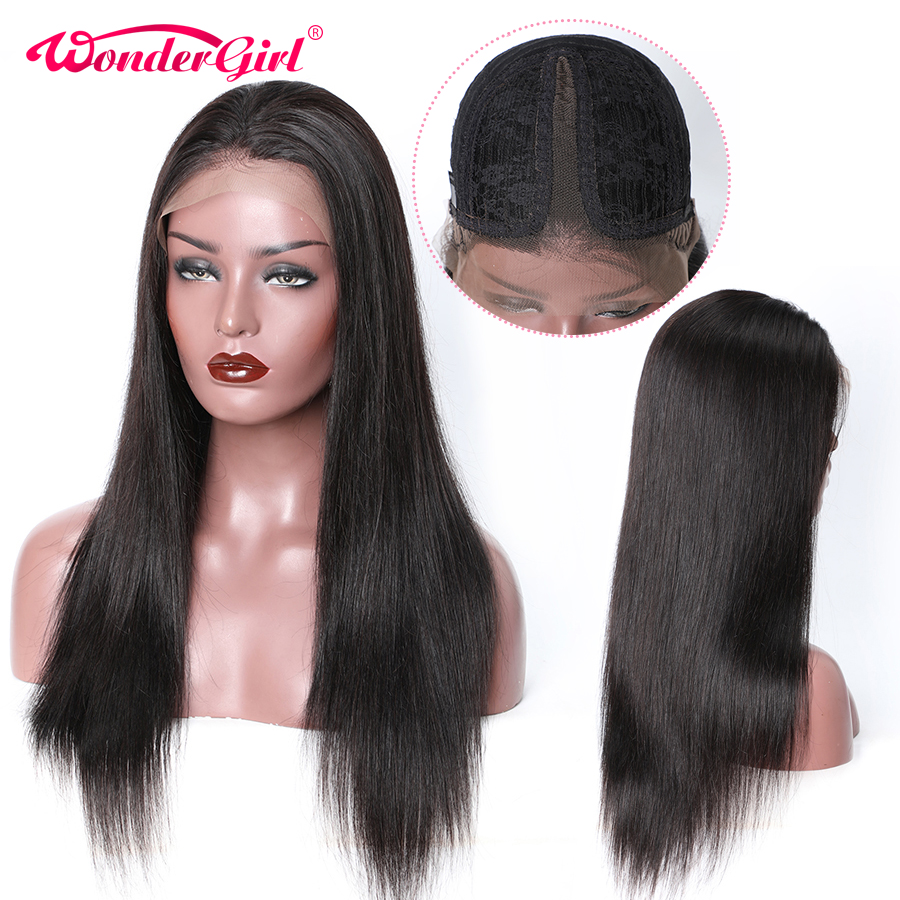T Part Straight Lace Front Human Hair Wigs 150 Density Peruvian Lace Wig With Baby Hair Remy Straight Lace Front Wig Wonder Girl