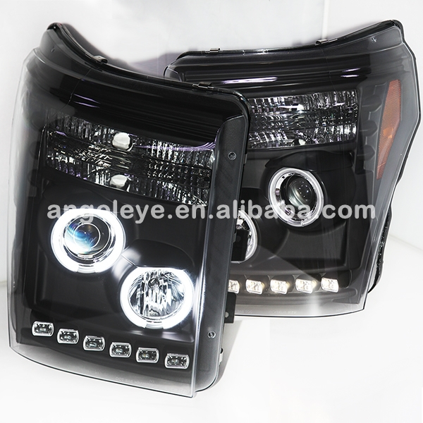 Pour FORD Raptor F250 F350 F450 F550 Super Duty CCFL phare ange yeux couleur noire 2011-2014 an SN
