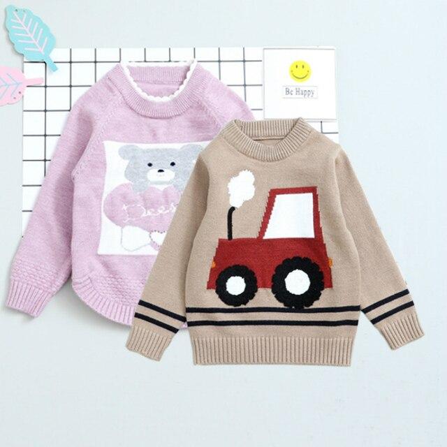 Winter Boys Girls Bear Car Pattern Sweaters 2017 Adult Clothing