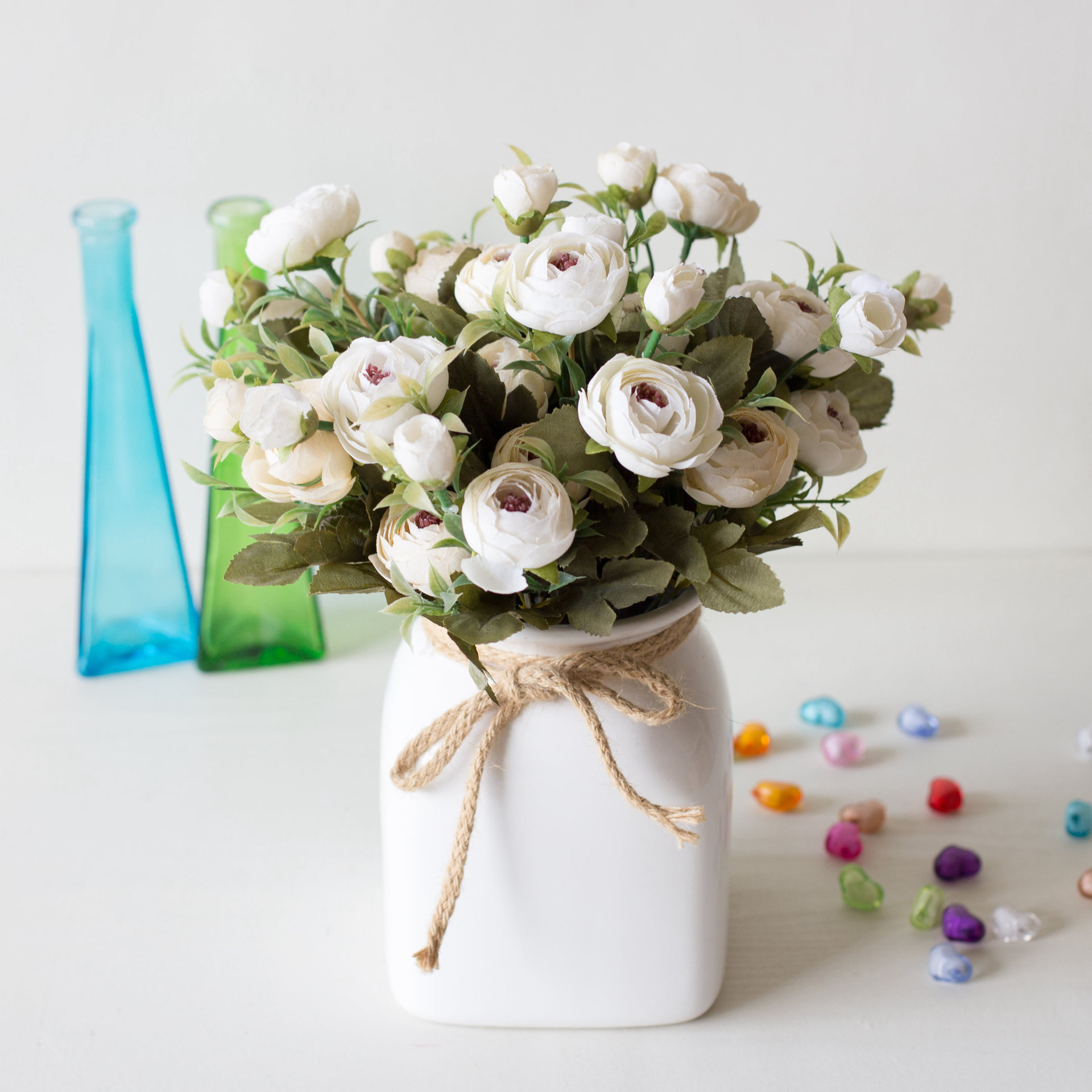 Image 3 - 9 Head/Bouquet Mini Fake Tea Rose Peony Flowers For Home Wedding Decor Artificial Rose Penoy Flower Bouquet Bud For Room Decor-in Artificial & Dried Flowers from Home & Garden