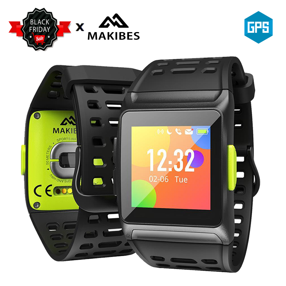 In Stock Makibes BR1 GPS Strava Multisport Smart Watch Heart Rate Fitness Wristband IP67 Color display