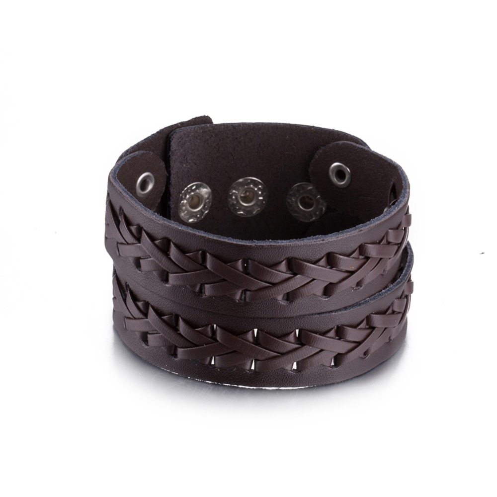 Wholesale Hand Made Big Wide Cuff Charm Bracelet For Women Genuine Brown  Leather Weaving Bracelet Bangle Cheap Price