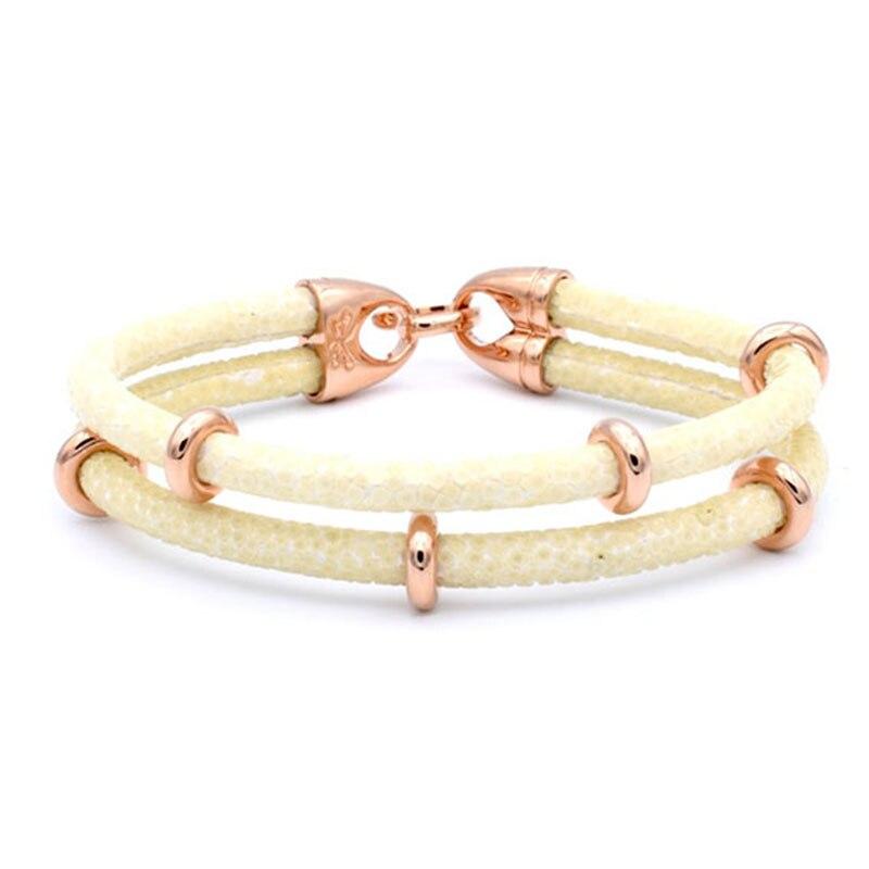 Bracelet en cuir argenté à deux couches en acier inoxydable pour hommes, bracelet en cuir véritable Stingray de luxe en thaïlande - 5