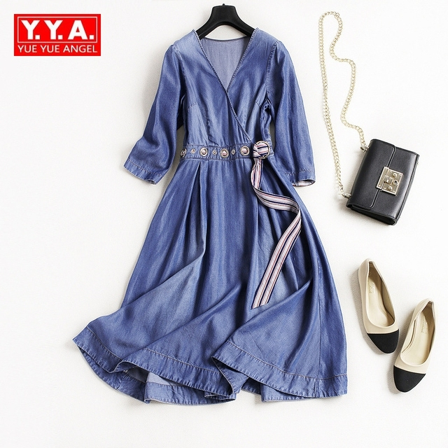 5402e8d22d123 2018 New Wrist A-Line Dresses Women Sashes Knee Length Robe Femme V-Neck  Spring Fashion Vestidos Jean Tencel Denim Temperament