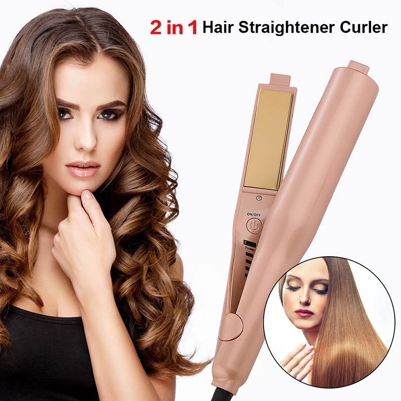 Professional 2 in 1 Hair Straightener and Curler Twist Straightening Curling Iron Ceramic Flat Irons Hair Styling Tools Gold