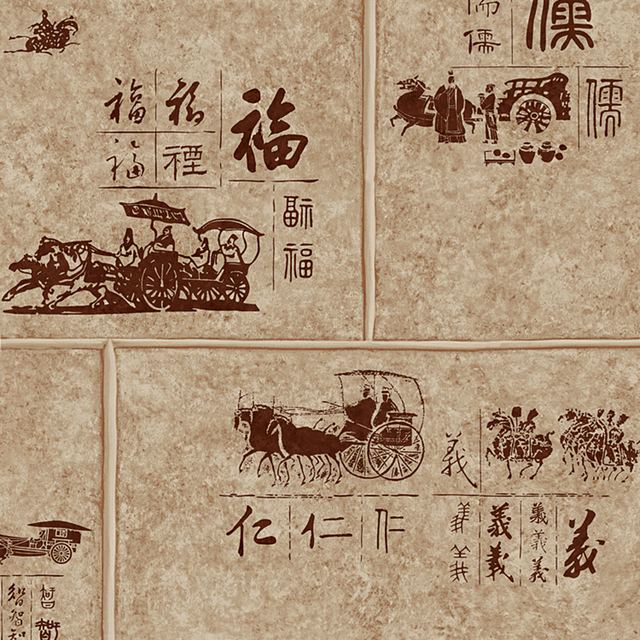 Classic Chinese Style Coach Pattern PVC Wallpaper For Walls Waterproof Vinyl Roll Study Room