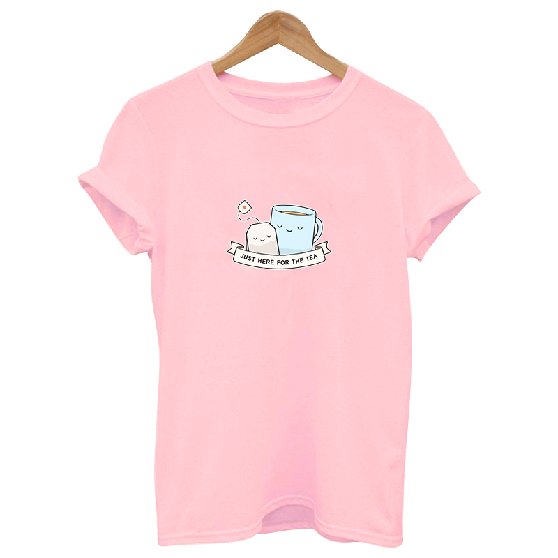2019 just here for the tea cute funny woman pink Print cute tshirt Cotton Casual   t     shirt   female Tops Tee Hipster Tumblr harajuku