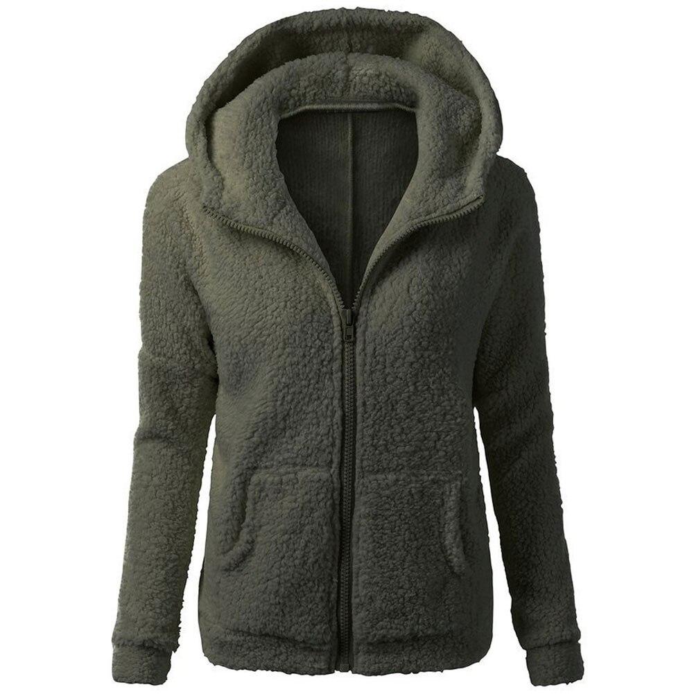 2019 New Autumn Winter Slim Fit Warm Thicken Fleece Fur Women Winter Coat Plush Hooded   Parka   Overcoat Jacket Outwear