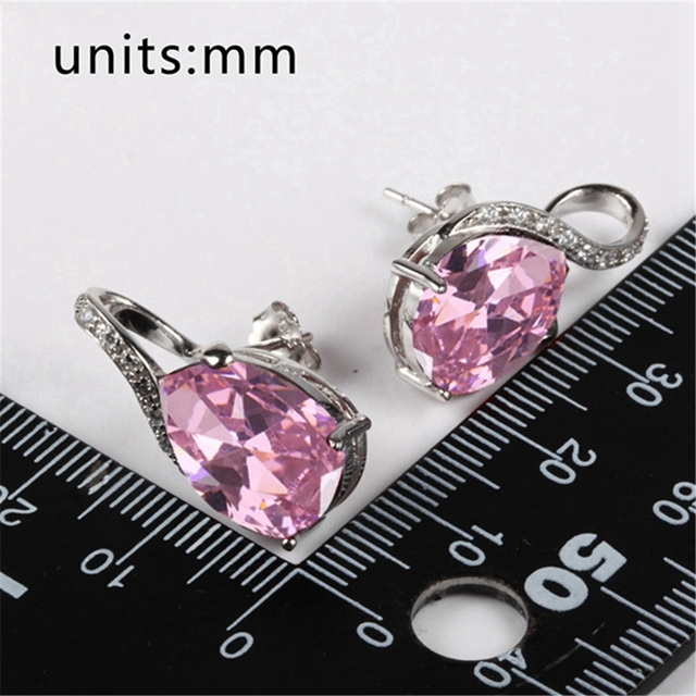 Fleure esme engagement wedding drop earrings jewelry earrings for women lovely red pink cubic zirconia rhodium plated r838 r841