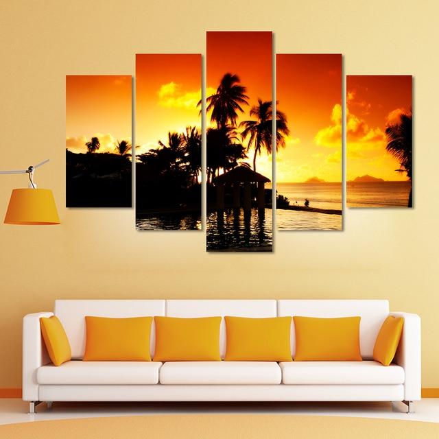5pcs gold sunset decoration seascape coconut tree wall art picture ...