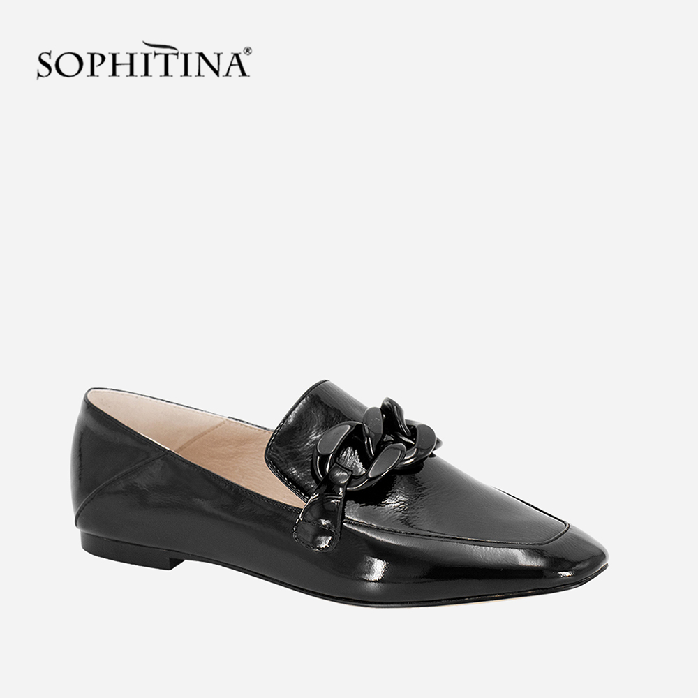 SOPHITINA Fashion Casual Flats Handmade Black Square Toe Patent Leather Woman Shoes Metal Chain Slip on