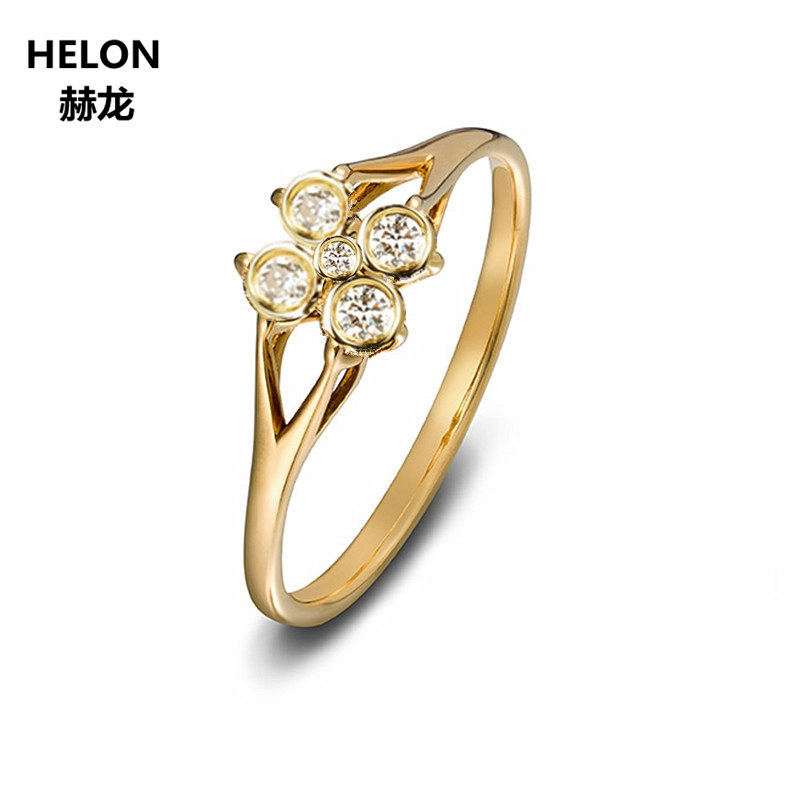 Solid 14k Yellow Gold Natural Diamonds Ring 0.3ct SI/H Engagement Wedding Anniversary Ring for Women OL Style Fine Jewelry punk style solid color hollow out ring for women