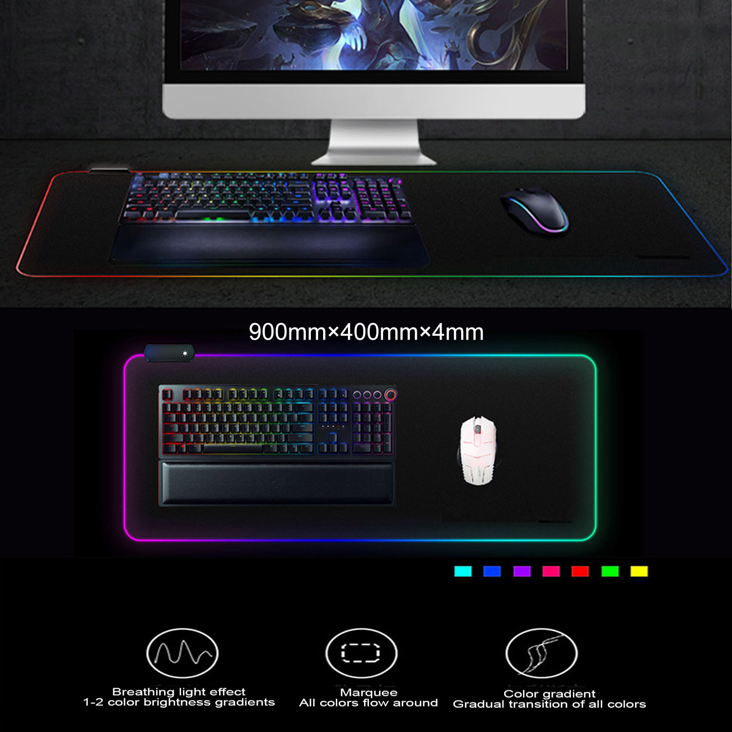 Vococal 400*900MM Large Gaming RGB Mouse Pad Wired LED Mousepad Mice Mat For Overwatch Pubg Lol Csgo Dota Borderlands Game image