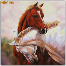 Peter ren Diamond painting cross stitch Pictures by numbers full mosaic Rhinestones Beaded embroidery  Hugging horse