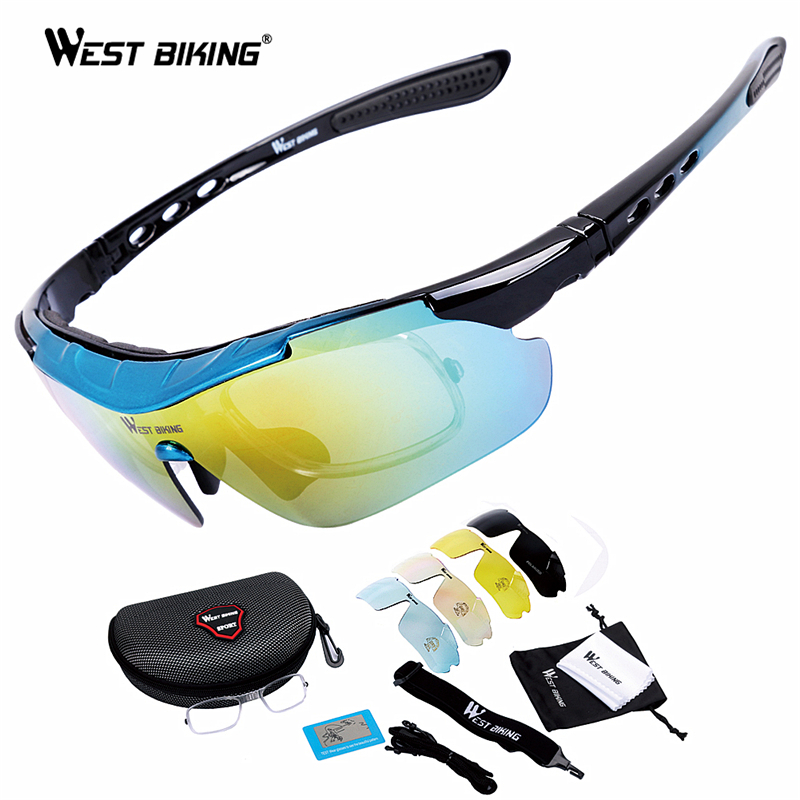 WEST BIKING Road Mountain Cycling Eyewear Racing Men Women Goggle Polarized oculosBicycle Bike Glasses Cycling glasses 5 Lens west biking bicycle riding glasses polarized glasses mountain bike outdoor sports equipment prescription windproof glasses