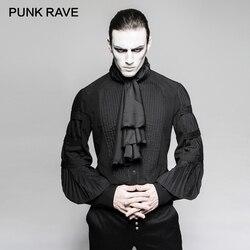 PUNK RAVE Steampunk Gentleman Krawatte Shirts Gothic Schwarz Seide Krawatten Große Ballon Ärmeln Männer Rüschen Blusen Kleidung Partei