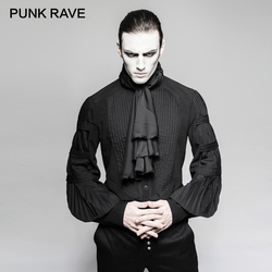 PUNK RAVE Steampunk Gentleman Necktie Shirts Gothic Black Silk Ties Big Balloon Sleeves Men Ruffle Blouses Clothing Party