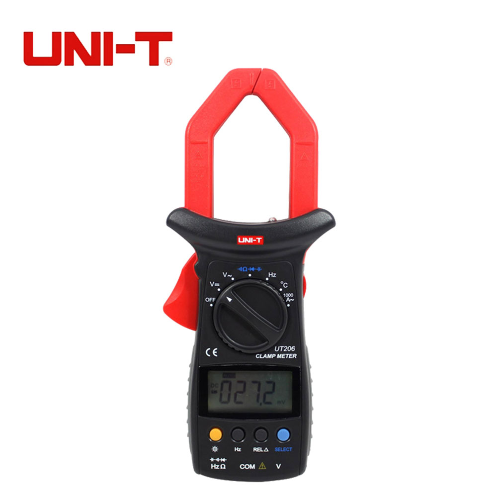 UNI-T UT206 3999 Count Auto Range DMM Digital Clamp Multimeters W/ Temperature Test Multimetro LCR Meter my68 handheld auto range digital multimeter dmm w capacitance frequency