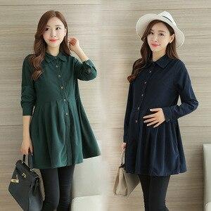 Image 3 - סתיו וחורף קורדרוי T חולצה סיעוד שמלת עבור אמא תלבושת ליולדות בהריון נשים הנקה T שמלה