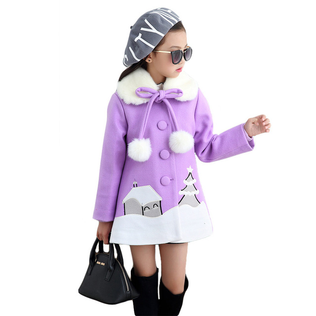 2016 new winter kids girls in Korean children woolen coat in the long section of cotton