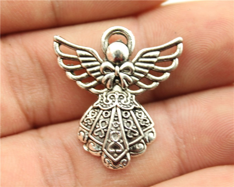 WYSIWYG 6pcs 26*23mm Antique Silver Color Angel Charms