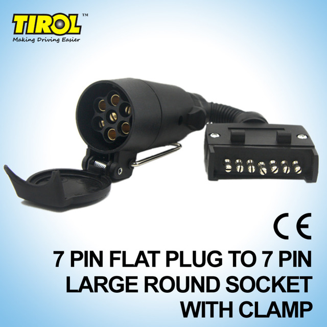 TIROL T21616a 7 Pin Plug ConnectorTrailer Boat Truck Adaptor 7 Pin Flat Plug to 7 Pin Large Socket with Clamp Free Shipping