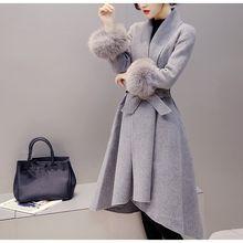 Delgado elegante del invierno lana Blend Coat Turndown cuello largo de lana  chaqueta de piel desmontable 3174d0fa9f5e