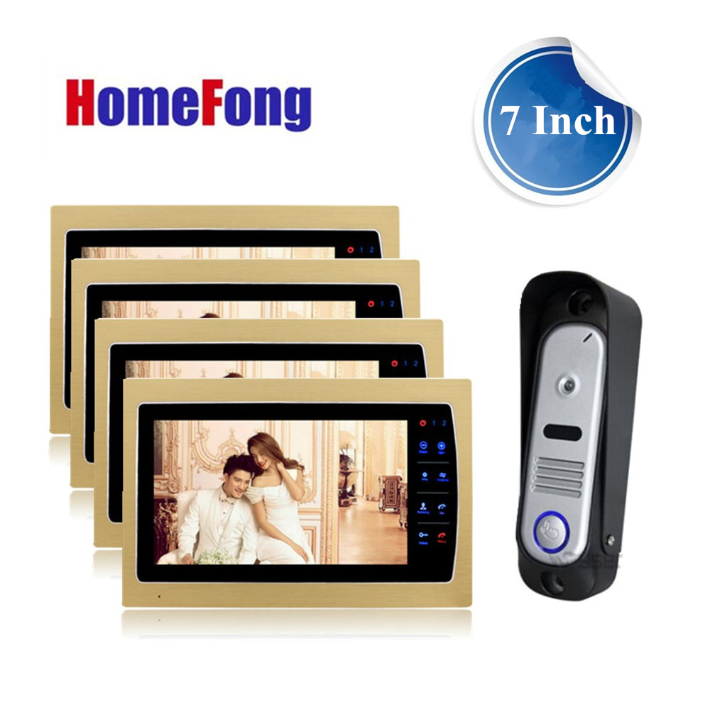 Homefong 7 Inch Color Video Door Phone Kits Video Intercom System for Home 4 Indoor monitor and 1 outdoor Doorbell camera