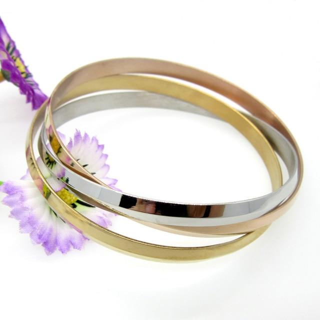Nova chegada moda jóias de aço inoxidável cor ouro bangle 3 cor conjunto pulseira & pulseira amante pulseiras para mulher