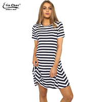 2017 New Elia Cher Brand Women Dresses Summer Swearter Dress Striped A Line Elegant Female Clothing