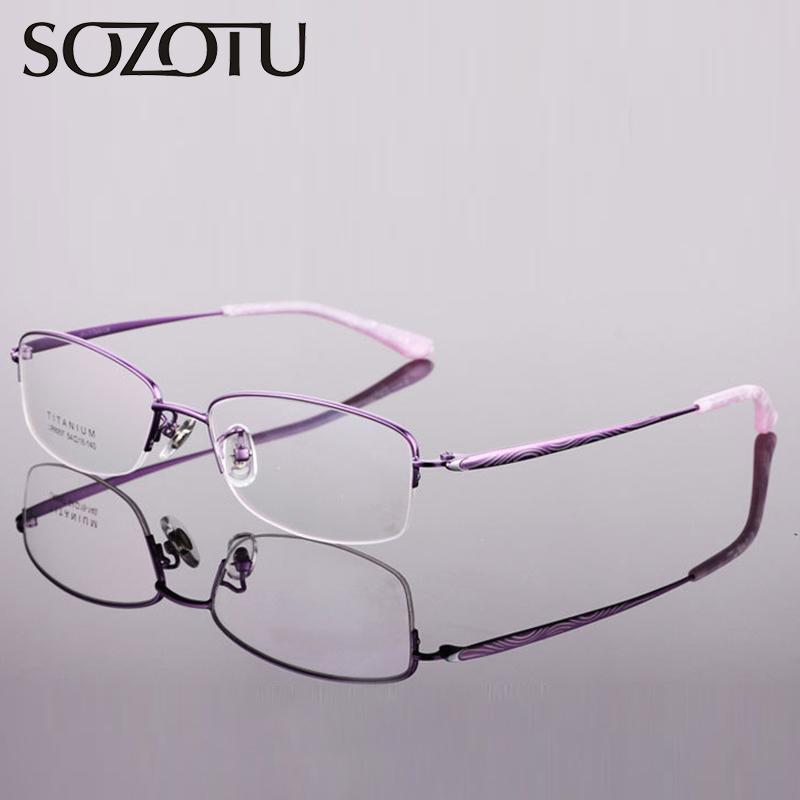 Pure Titanium Spectacle Frame Women Nerd Myopia Eyeglasses Computer Optical Clear Lens Glasses Frame For Female Eyewear YQ289