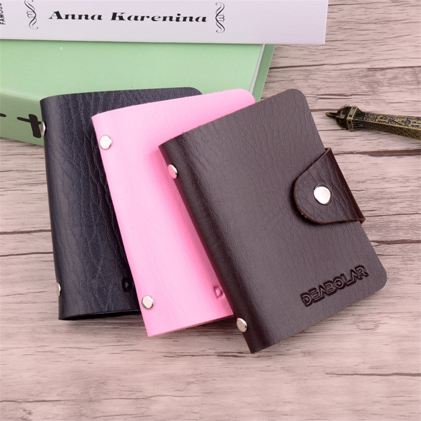 Leather ID Credit Card Holder Portable Business Organizer 24 Slots Wallet Bag