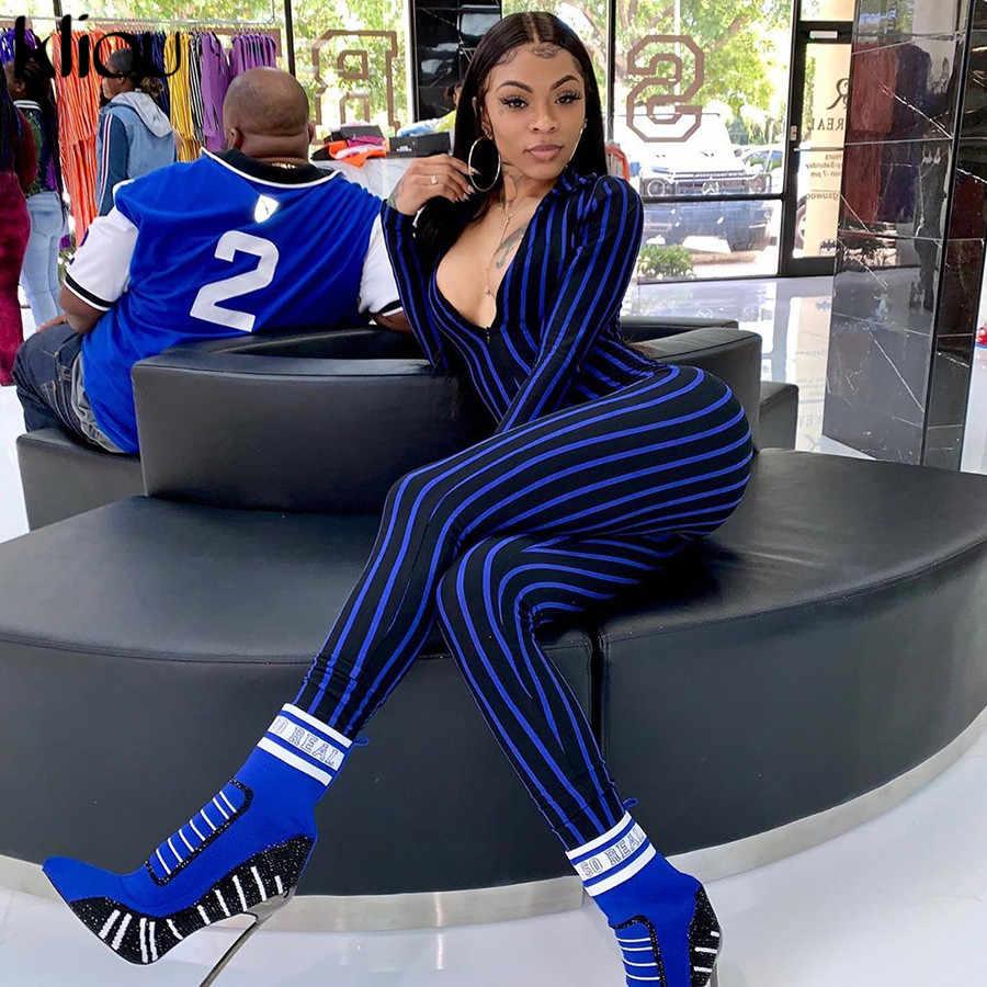 Kliou rayado cuello en V sexy manga larga ajustado mono 2019 verano mujeres moda cintura alta streetwear club bodycon Cuerpo Femenino