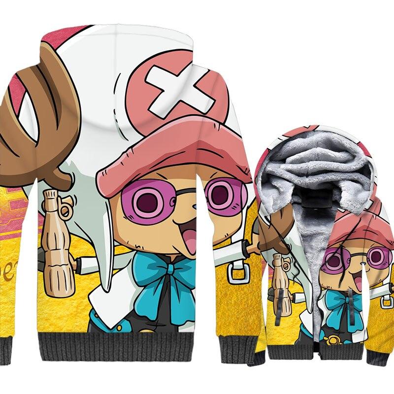 One Piece Chopper 3D Print Hoodie Men Japan Anime Luffy Hooded Sweatshirt Winter Thick Fleece Cool Jacket The Pirate King Coat
